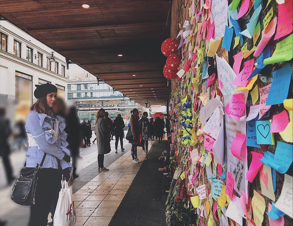 Bianca Valerio at Ahlens Department Store Memorial Wall Stockholm Terrorist Attack