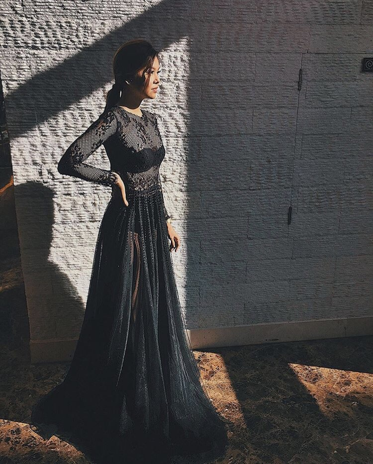 Bianca Valerio Wearing Ronald Enrico Gown