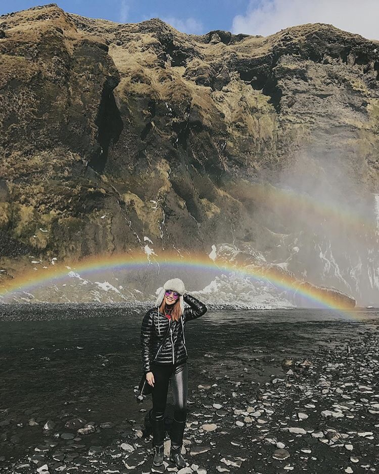 Bianca Valerio at Skogafoss Waterfall Iceland Rainbows Scandinavia
